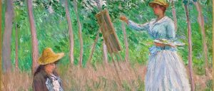 Claude Monet   In the Woods at Giverny  Blanche Hoschedé at Her Easel with Suzanne Hoschedé Reading   Google Art Project