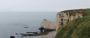 France Normandy The White Cliffs of Etretat Cloudy