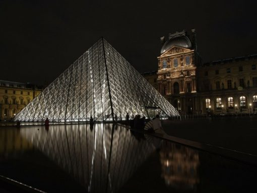 France Paris Louvre night