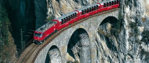 Switzerland Bernina Express Rocks and Bridge