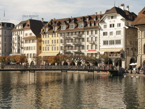 Switzerland Lucerne bridge old town