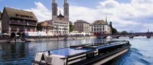 Switzerland Zurich Limmat River and Boat